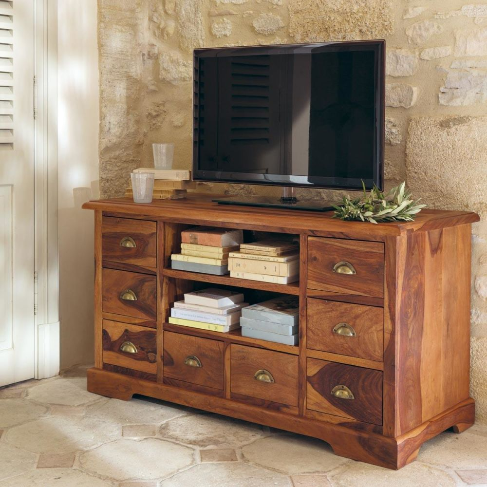 Meuble tv en bois de sheesham massif l 125 cm lub ron for Maison du meuble