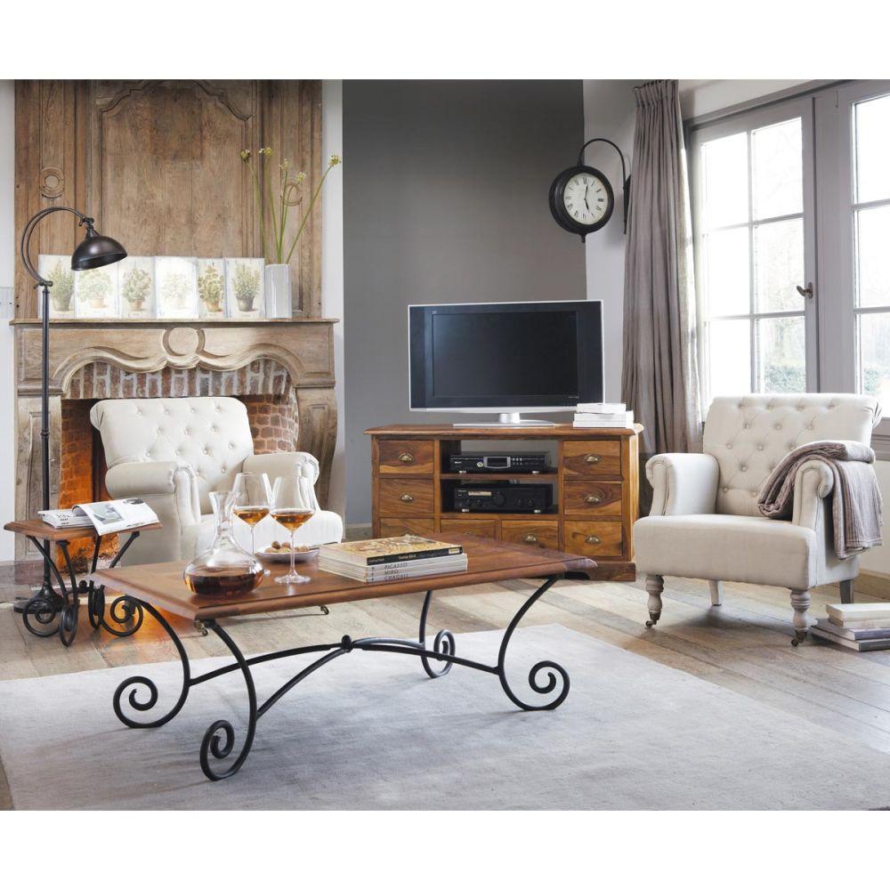 Meuble TV en bois de sheesham massif L 125 cm Lubéron  Maisons du Monde -> Meubles Luberon