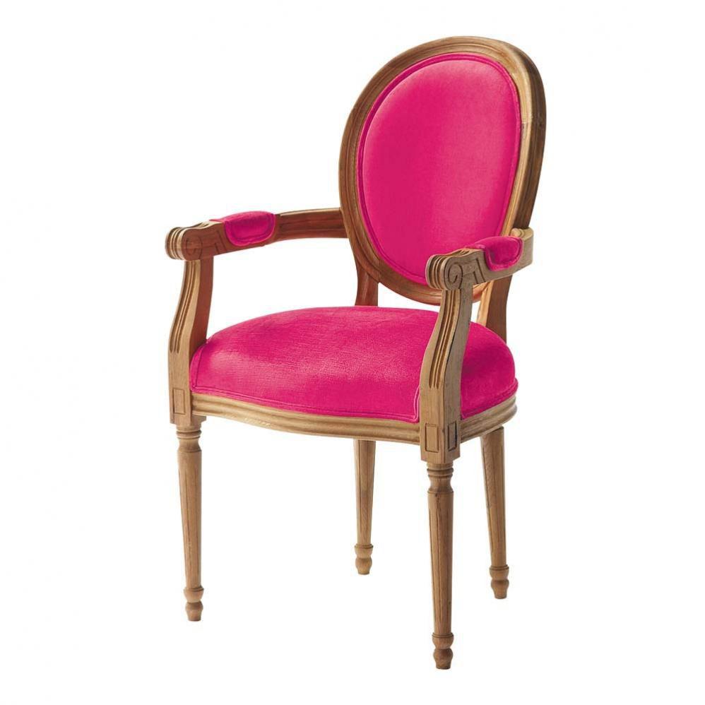 fauteuil cabriolet en coton fuchsia louis maisons du monde. Black Bedroom Furniture Sets. Home Design Ideas