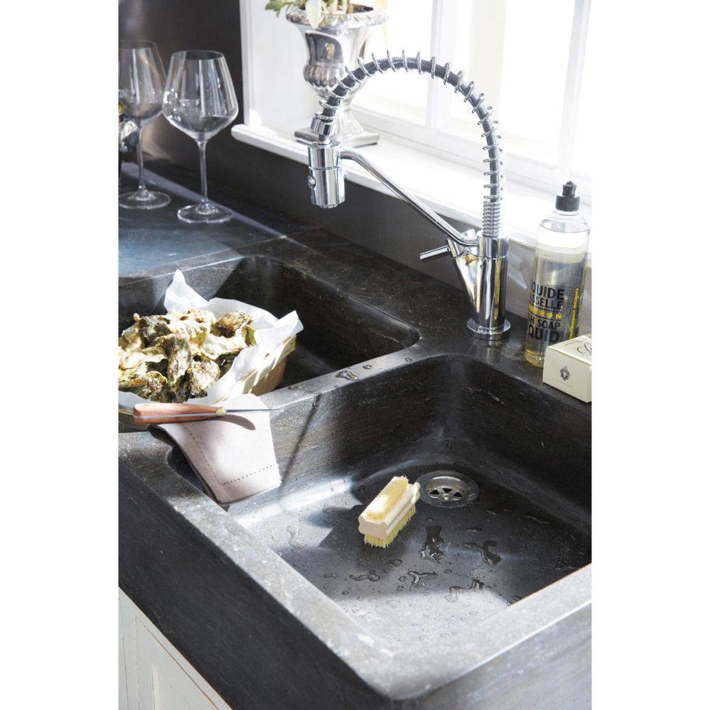 Meuble bas de cuisine avec vier en bois recycl blanc l for Element cuisine bas