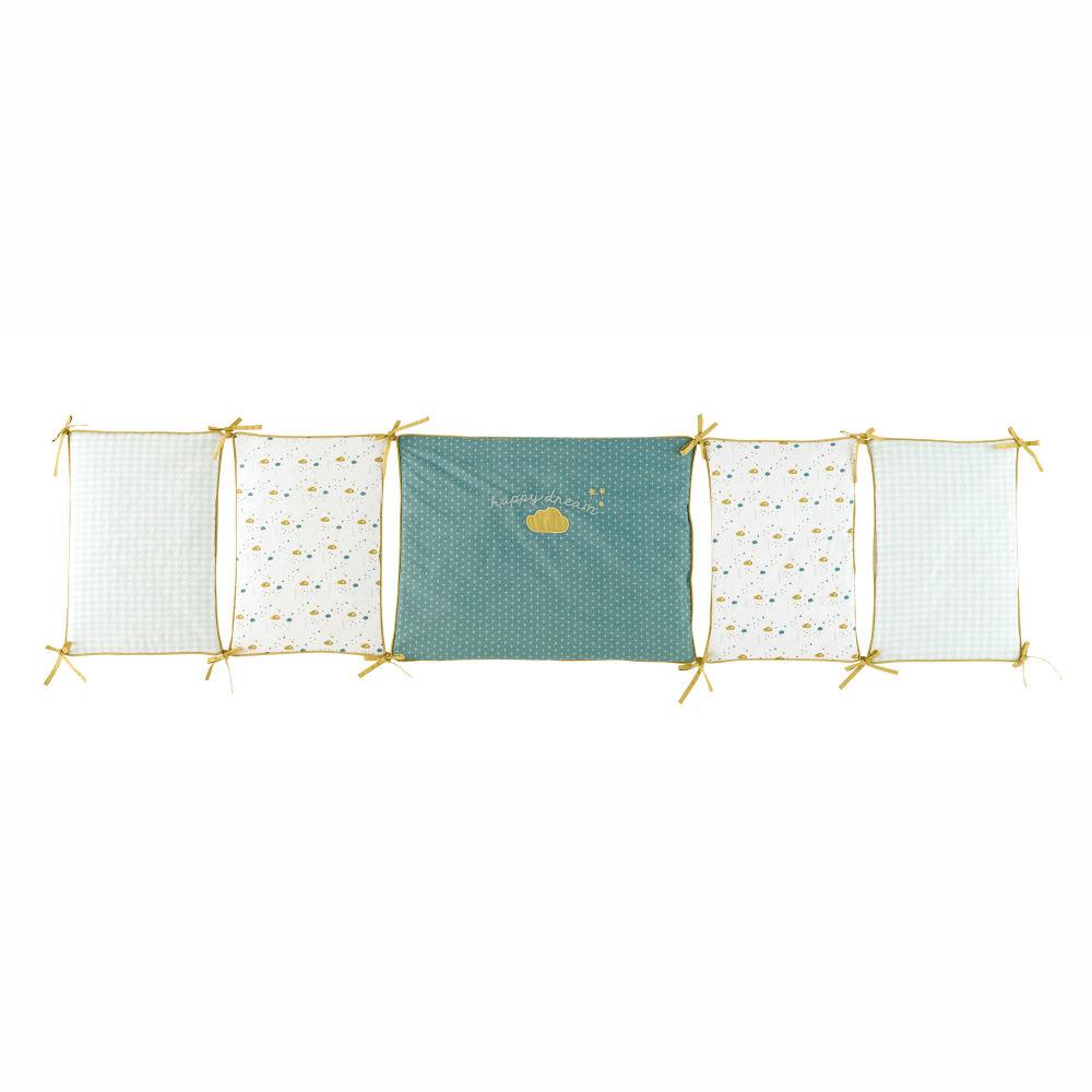 Tour de lit bébé en coton jaune vert 45 x 180 cm GASTON