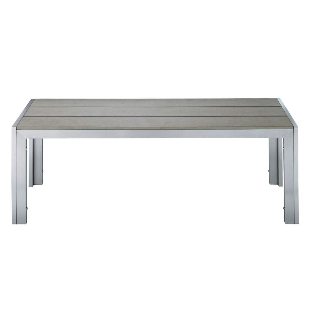 Banc de jardin en aluminium et composite imitation bois gris l 120 cm brisbane maisons du monde - Table jardin banc nancy ...