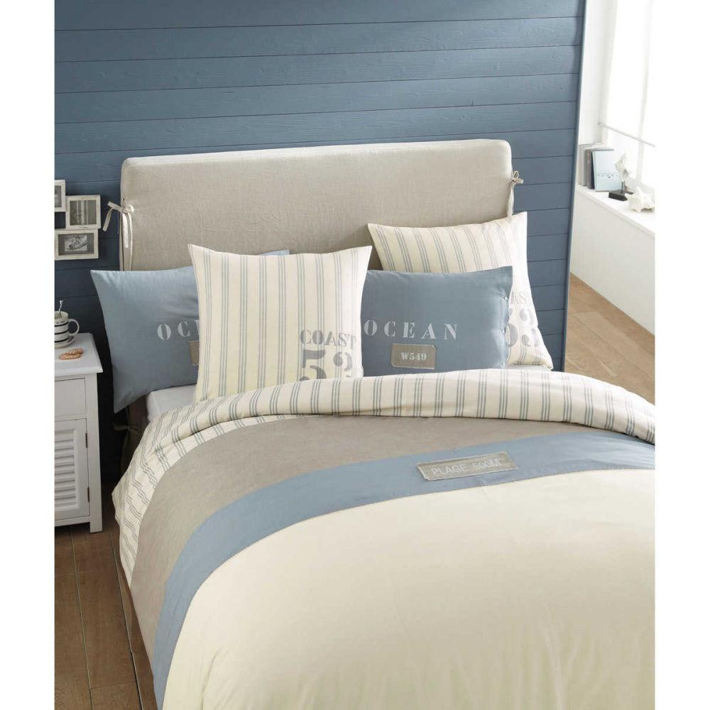 Parure de lit 240 x 260 cm en coton blanche oc an - Housse de couette mer ...
