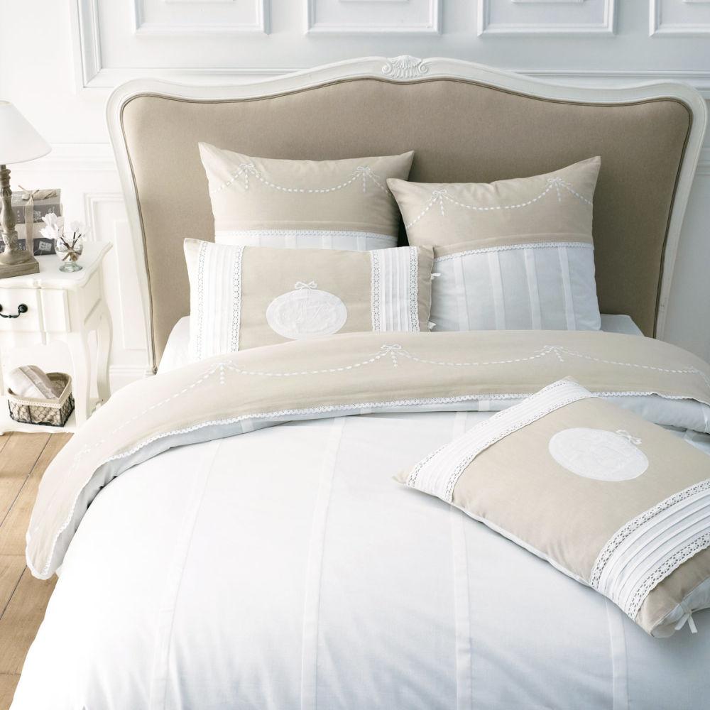 Tête de lit en bois massif et coton L 175 cm Joséphine