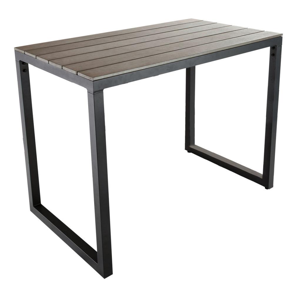 Table de jardin haute en composite imitation bois et - Table de bar haute rectangulaire ...