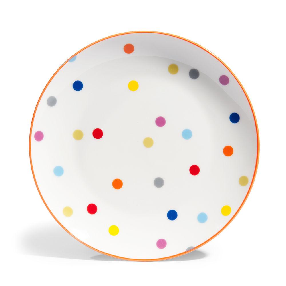 assiette plate 224 pois en porcelaine d 26 cm confettis maisons du monde