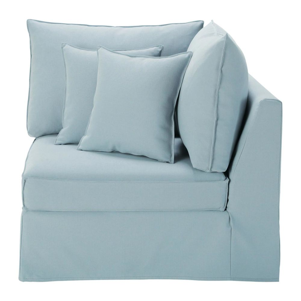 Angle de canap lin bleu gris enzo maisons du monde - Canape d angle convertible bleu ...