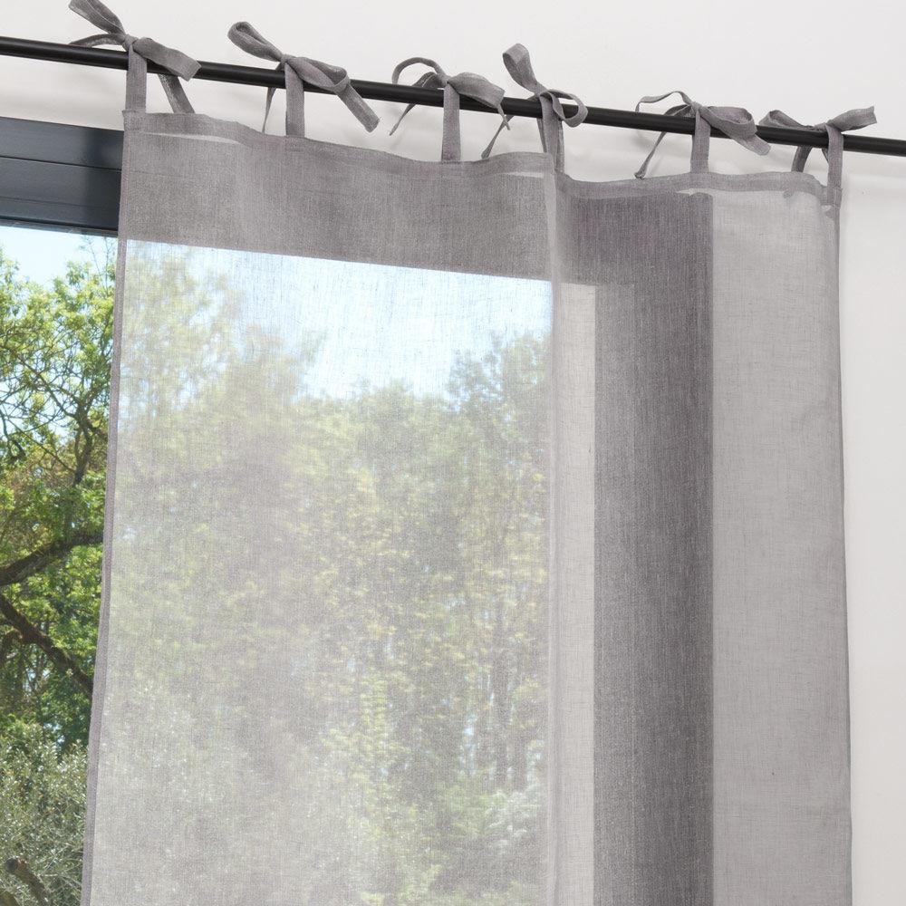 rideau nouettes en lin gris 105 x 300 cm maisons du monde. Black Bedroom Furniture Sets. Home Design Ideas