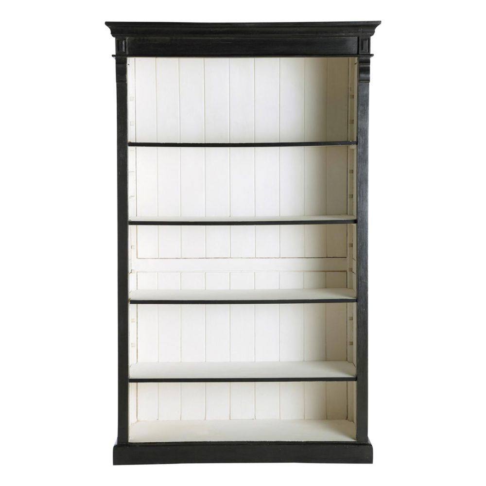 Biblioth que en manguier noire l 120 cm descartes - Transformer un meuble en bar ...
