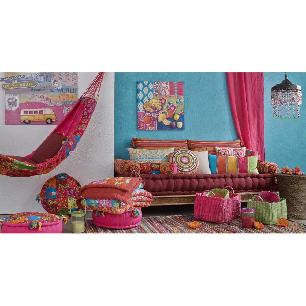banquette indienne 2 3 places en coton multicolore pondich ry maisons du monde. Black Bedroom Furniture Sets. Home Design Ideas