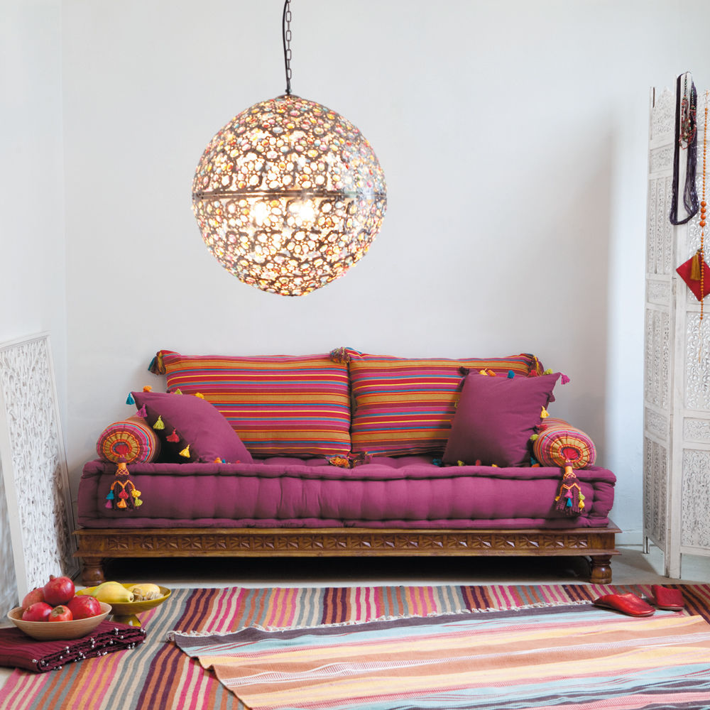 banquette indienne 2 3 places en coton multicolore