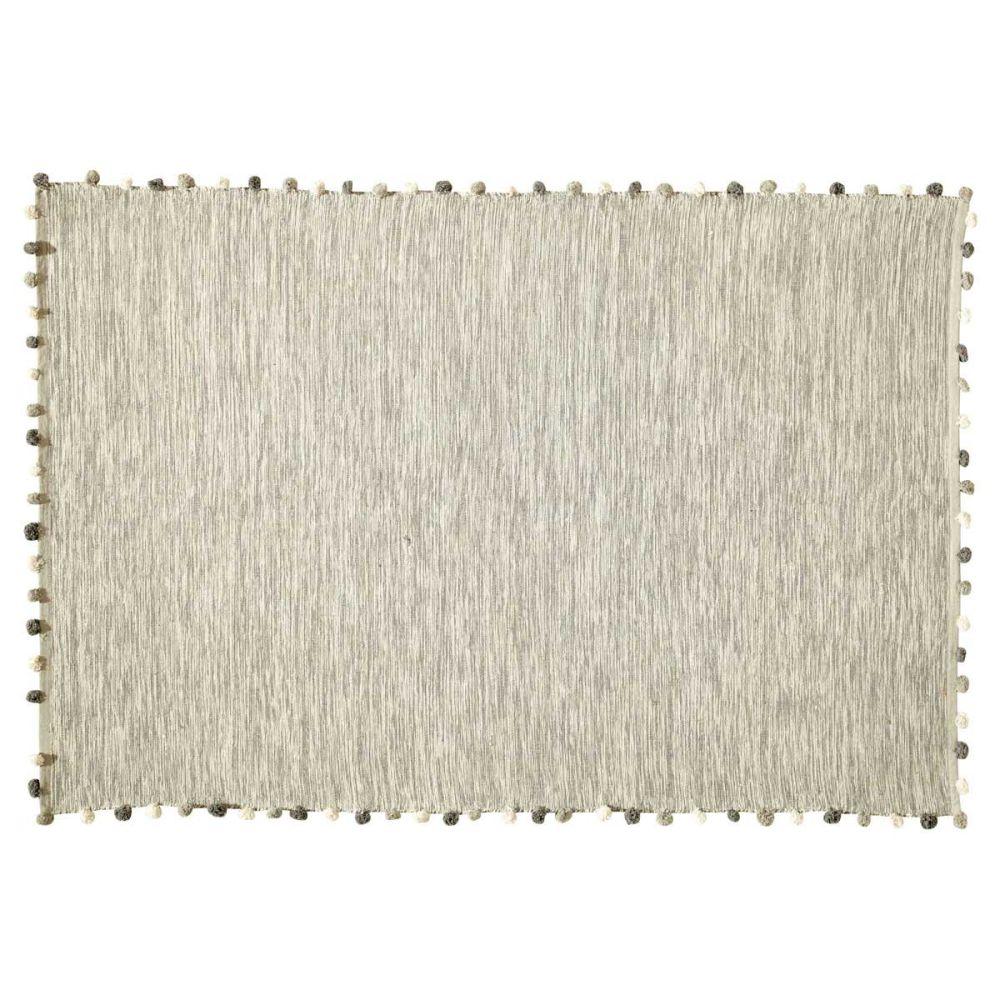 Tapis en coton écru 120 x 180 cm POMPON | Maisons du Monde