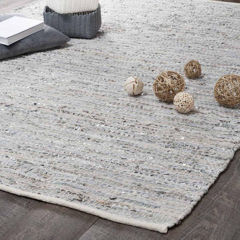 Tapis en cuir beige et gris 140 x 200 cm BASICS | Maisons du Monde