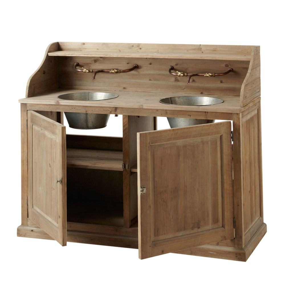 Meuble double vasque en bois et zinc effet vieilli l 150 - Meuble salle de bain en coin ...