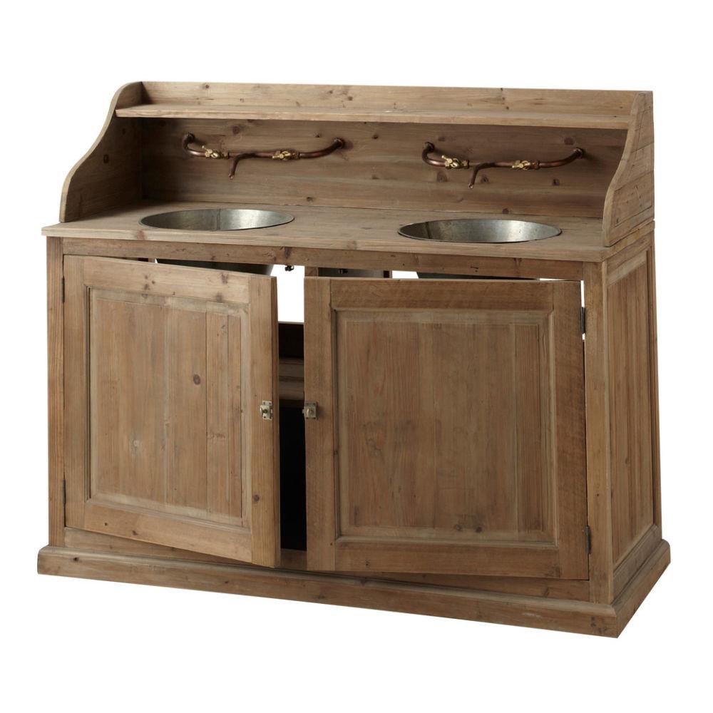 Meuble double vasque en bois et zinc effet vieilli L 150 Barthelemy  Maisons -> Meuble Double Vasque Le Bon Coin