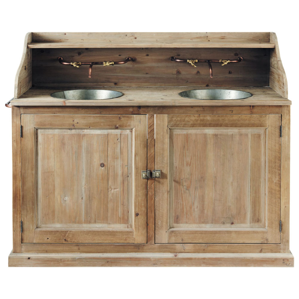Meuble double vasque en bois et zinc effet vieilli l 150 for Meuble salle de bain double vasque