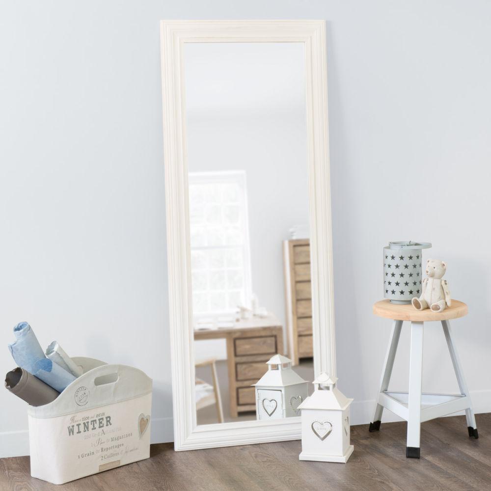 Miroir napoli blanc 145x59 maisons du monde for Miroir horizontal blanc