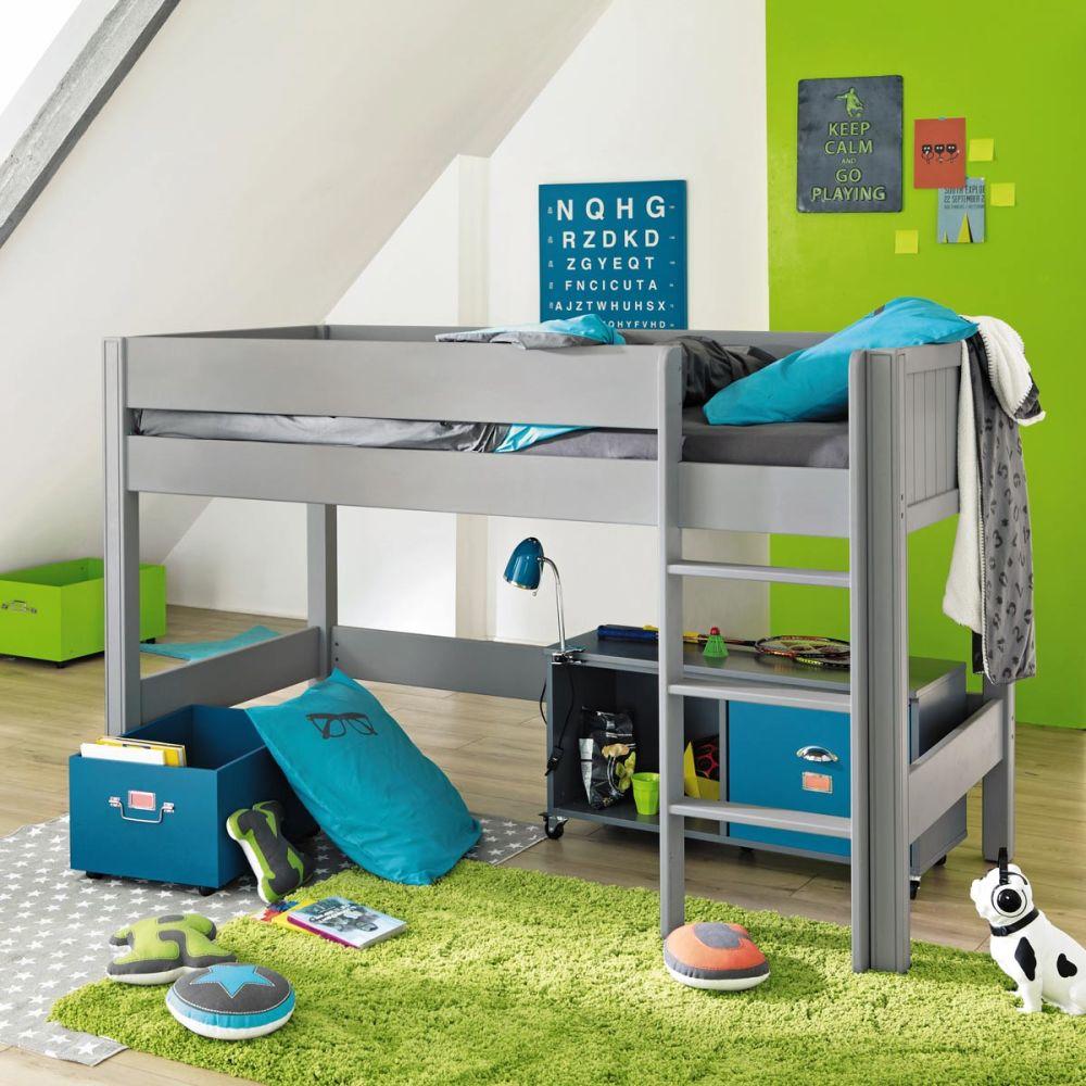 lit mezzanine enfant gris tonic maisons du monde. Black Bedroom Furniture Sets. Home Design Ideas