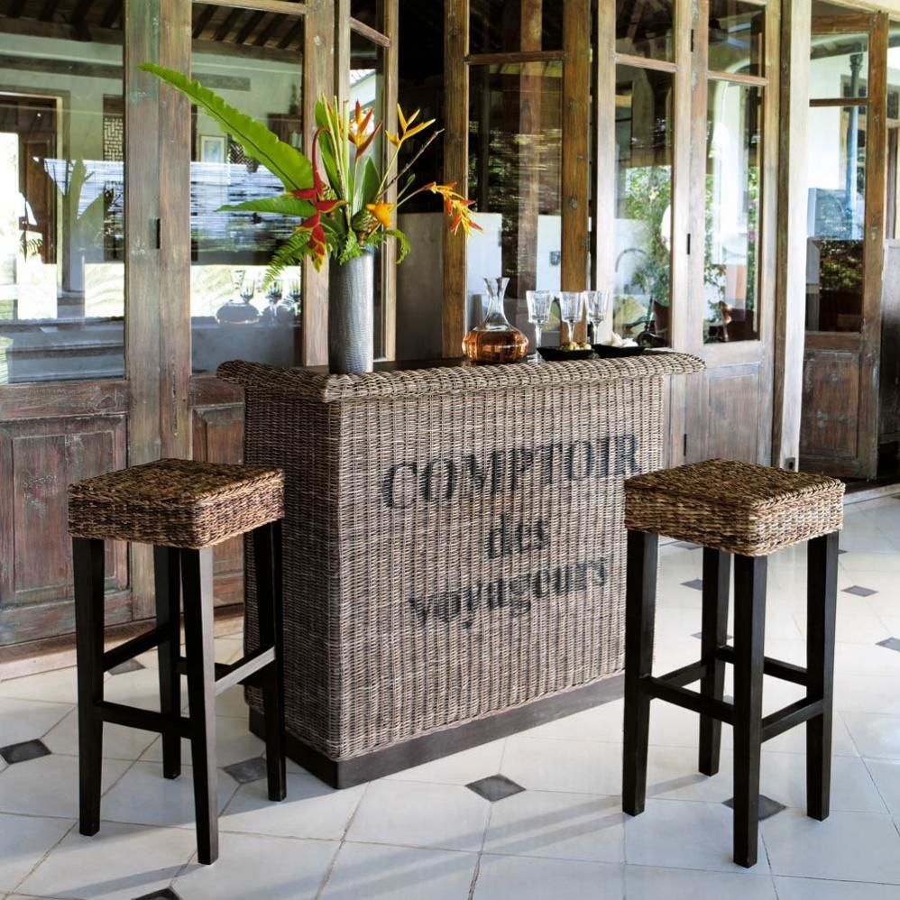 Meuble de bar en rotin l 130 cm zanzibar maisons du monde - Meuble bar maison du monde ...