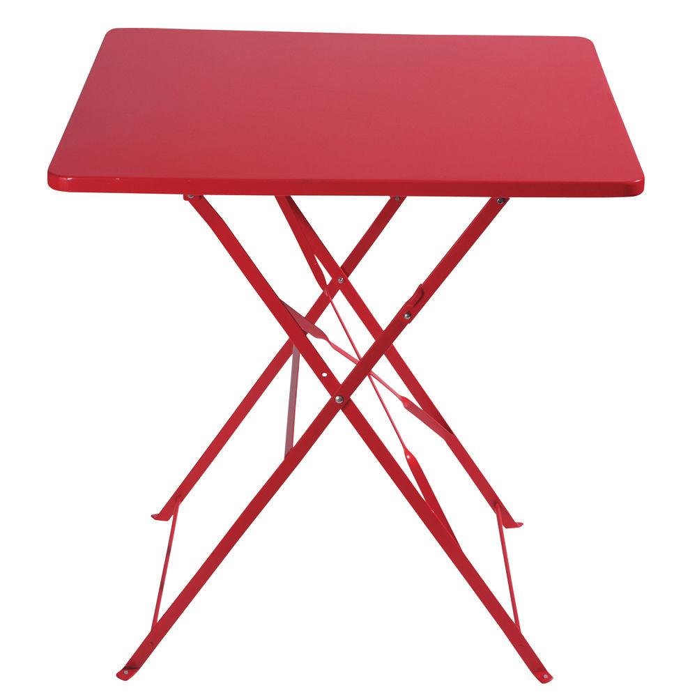 Table de jardin pliante en m tal rouge l 70 cm guinguette maisons du monde - Table carree de jardin ...