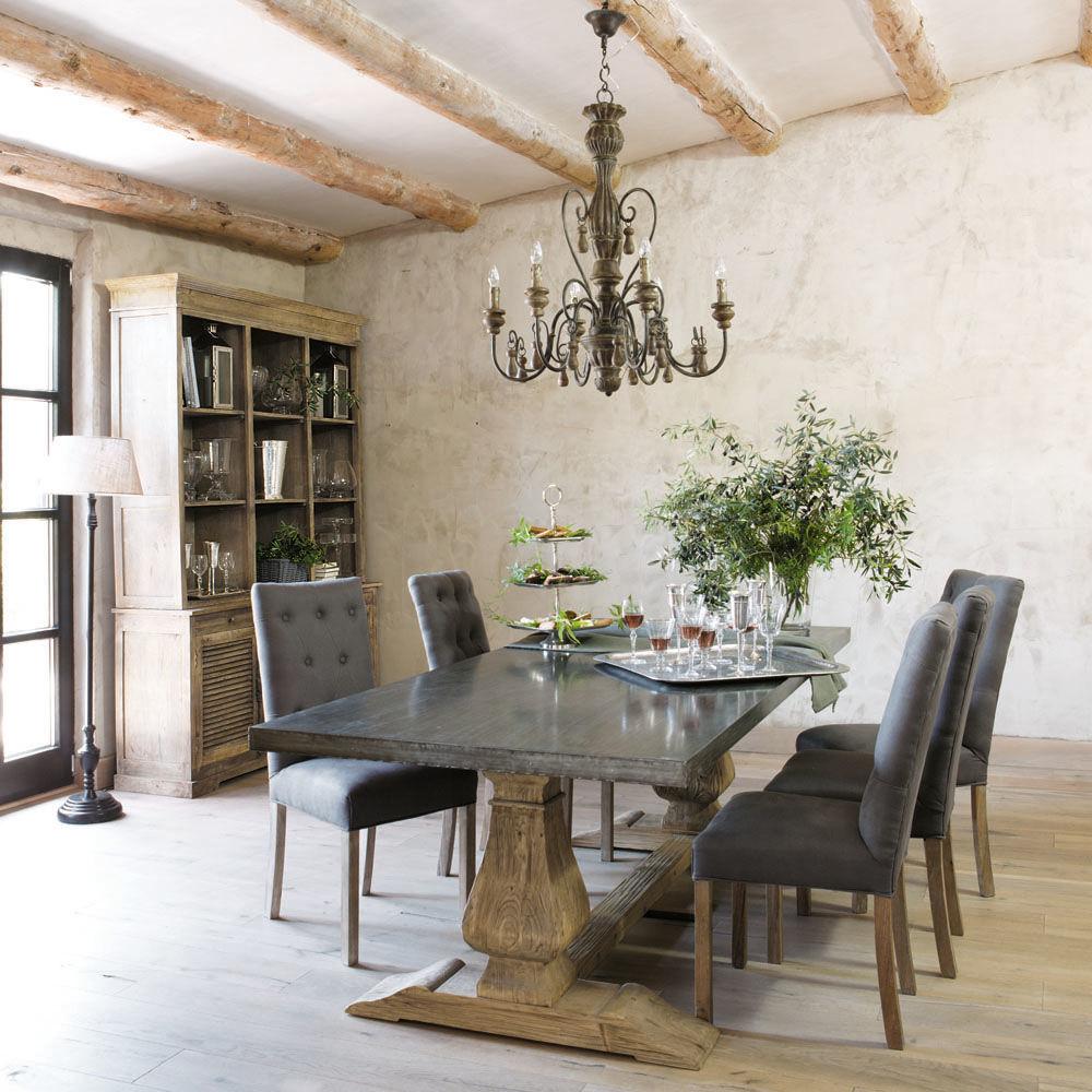 Table de salle manger en m tal et bois recycl l 240 cm - Cuisine maison du monde avis ...