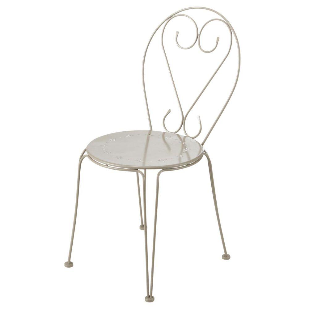 Chaise de jardin en m tal taupe mary maisons du monde - Chaise de jardin metal ...