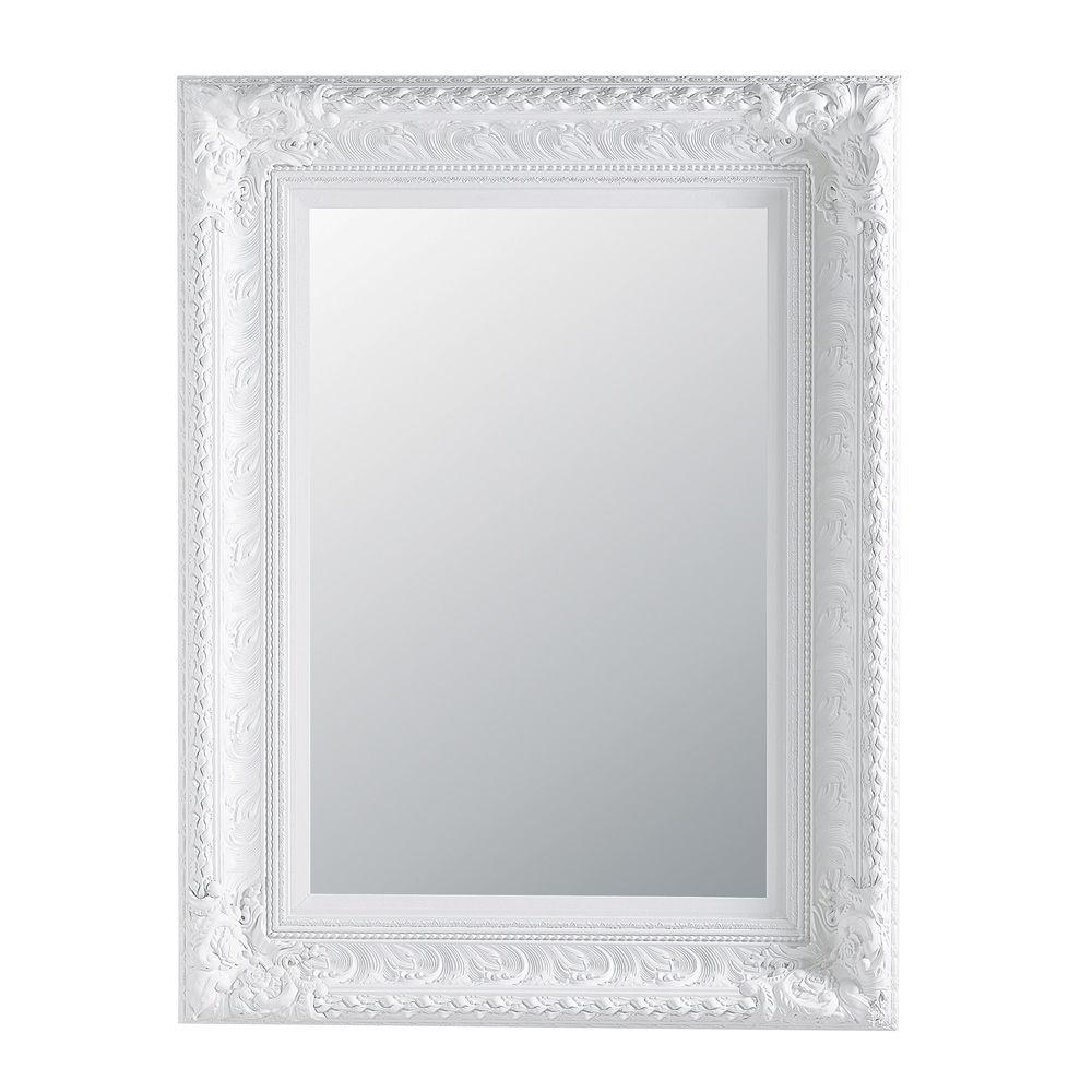 Miroir en bois de paulownia blanc h 125 cm marquise for Miroir quadrilobe blanc