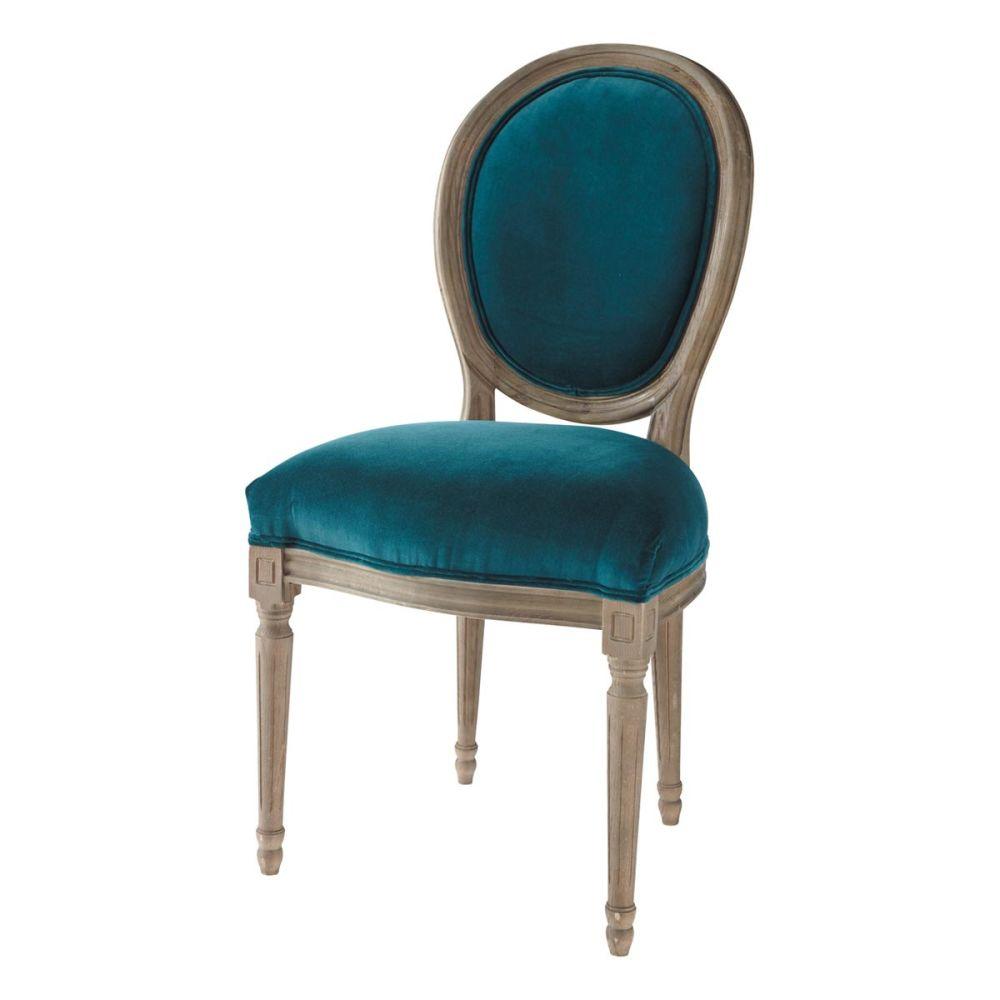 Chaise m daillon en velours et ch ne massif bleu canard for Maisons du monde chaises