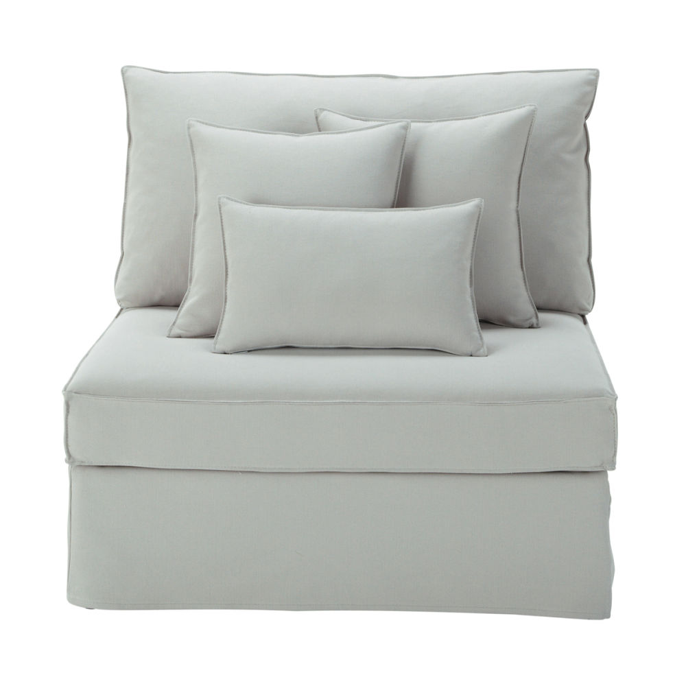 Chauffeuse en lin gris clair l 92 cm enzo maisons du monde - Meuble et canape com ...