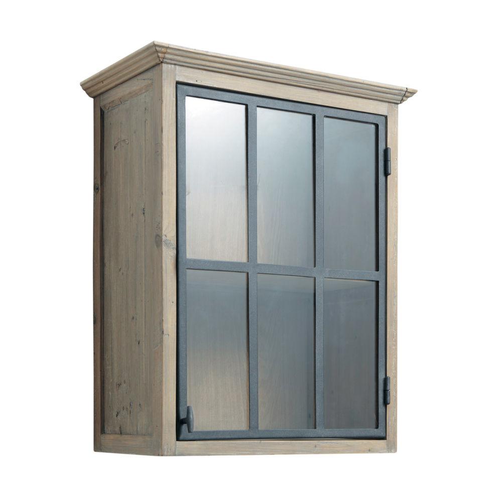 meuble haut vitré de cuisine ouverture gauche en bois recyclé l 60 ... - Meuble Haut Vitre Cuisine