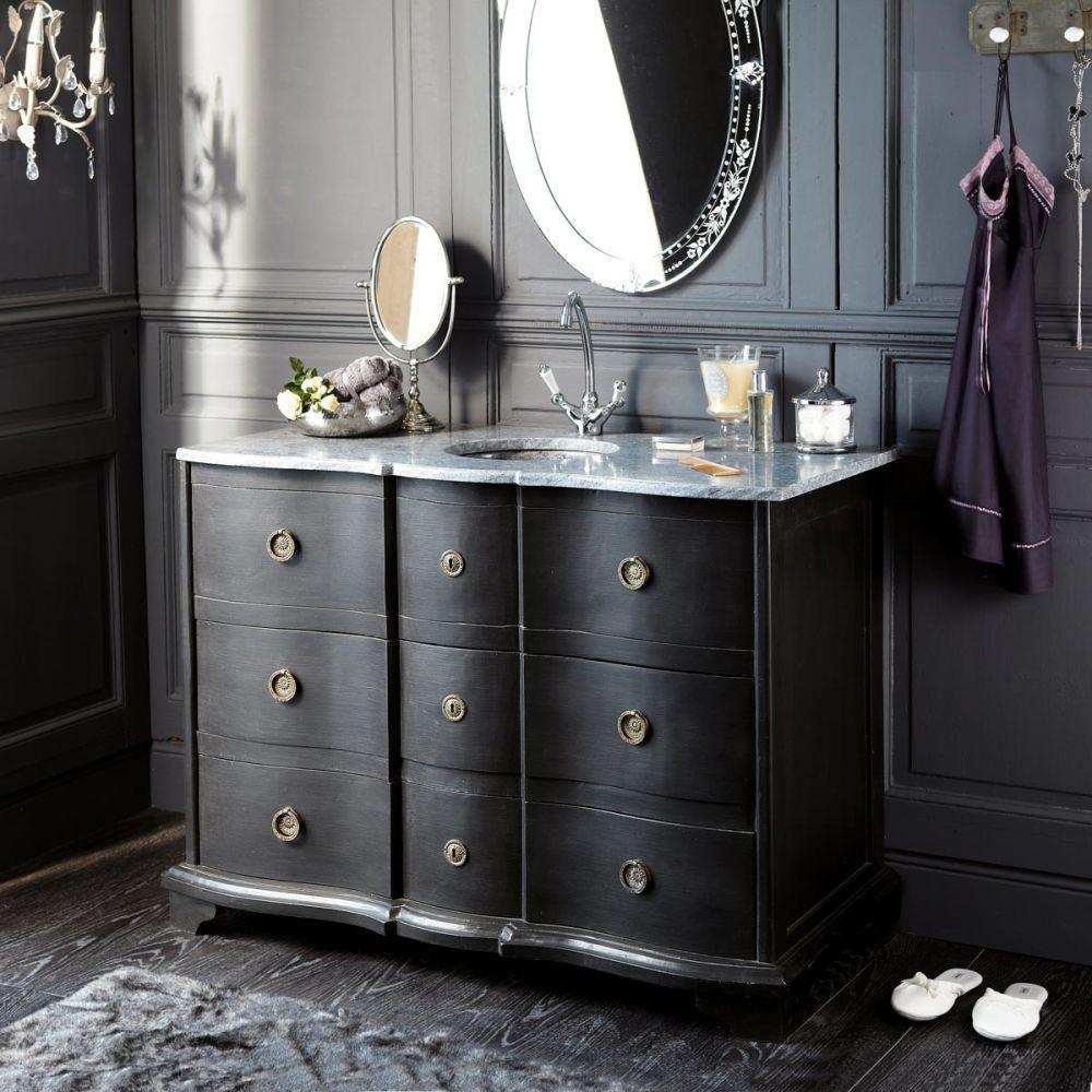 Meuble vasque en bois et marcre noir l 117 cm eugenie for Meuble salle de bain noir et bois