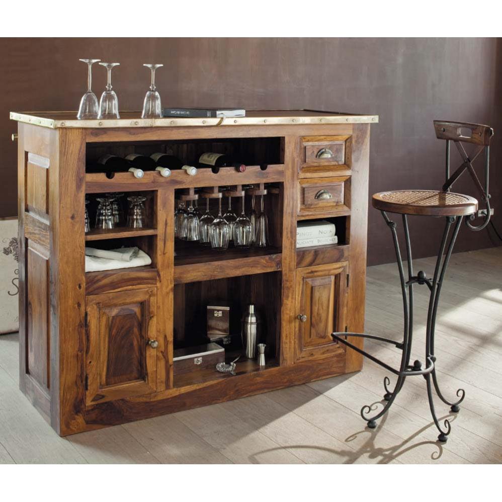 Chaise de bar en bois de sheesham massif et fer forg - Tabouret bar maison du monde ...