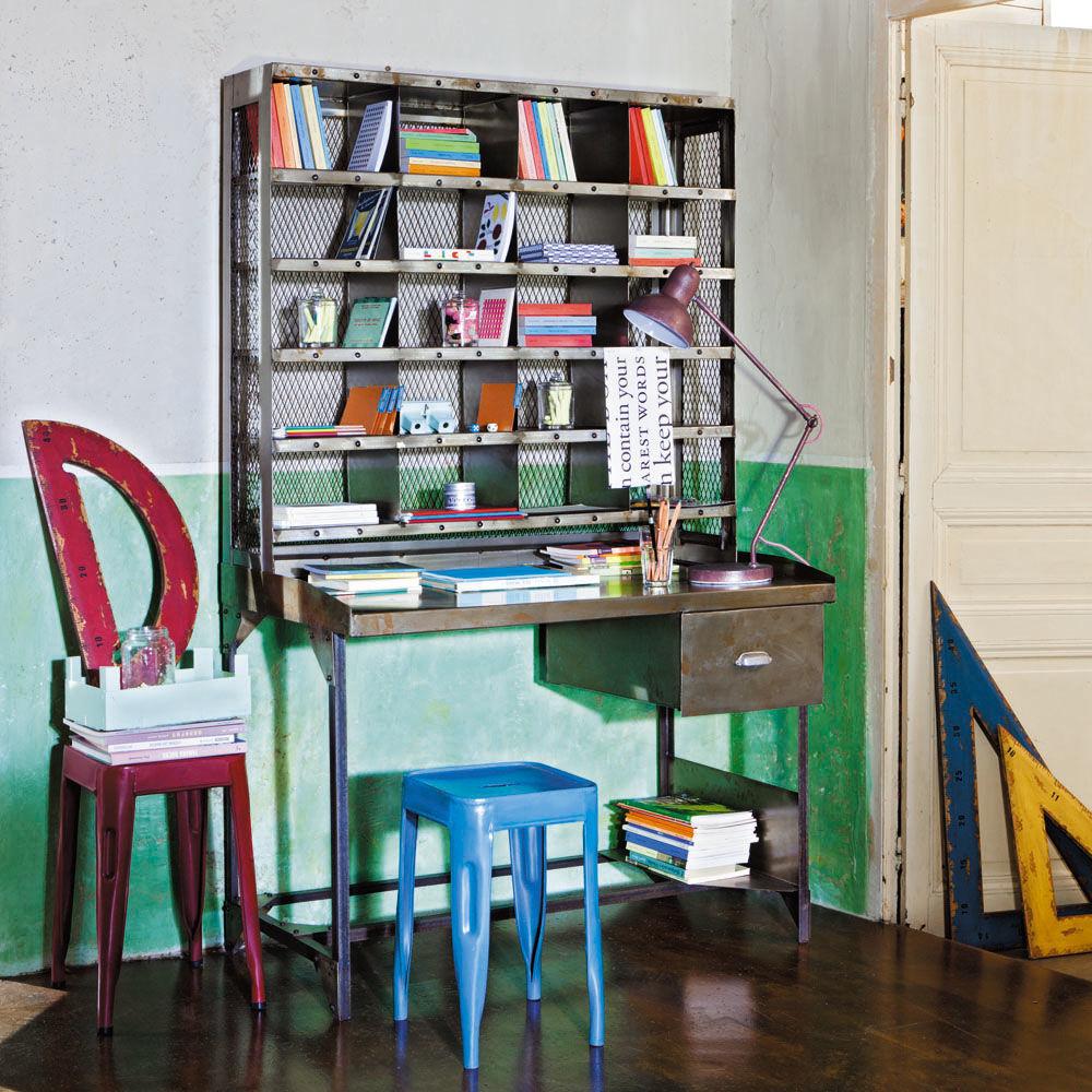 bureau secr taire en m tal effet vieilli l 110 cm. Black Bedroom Furniture Sets. Home Design Ideas