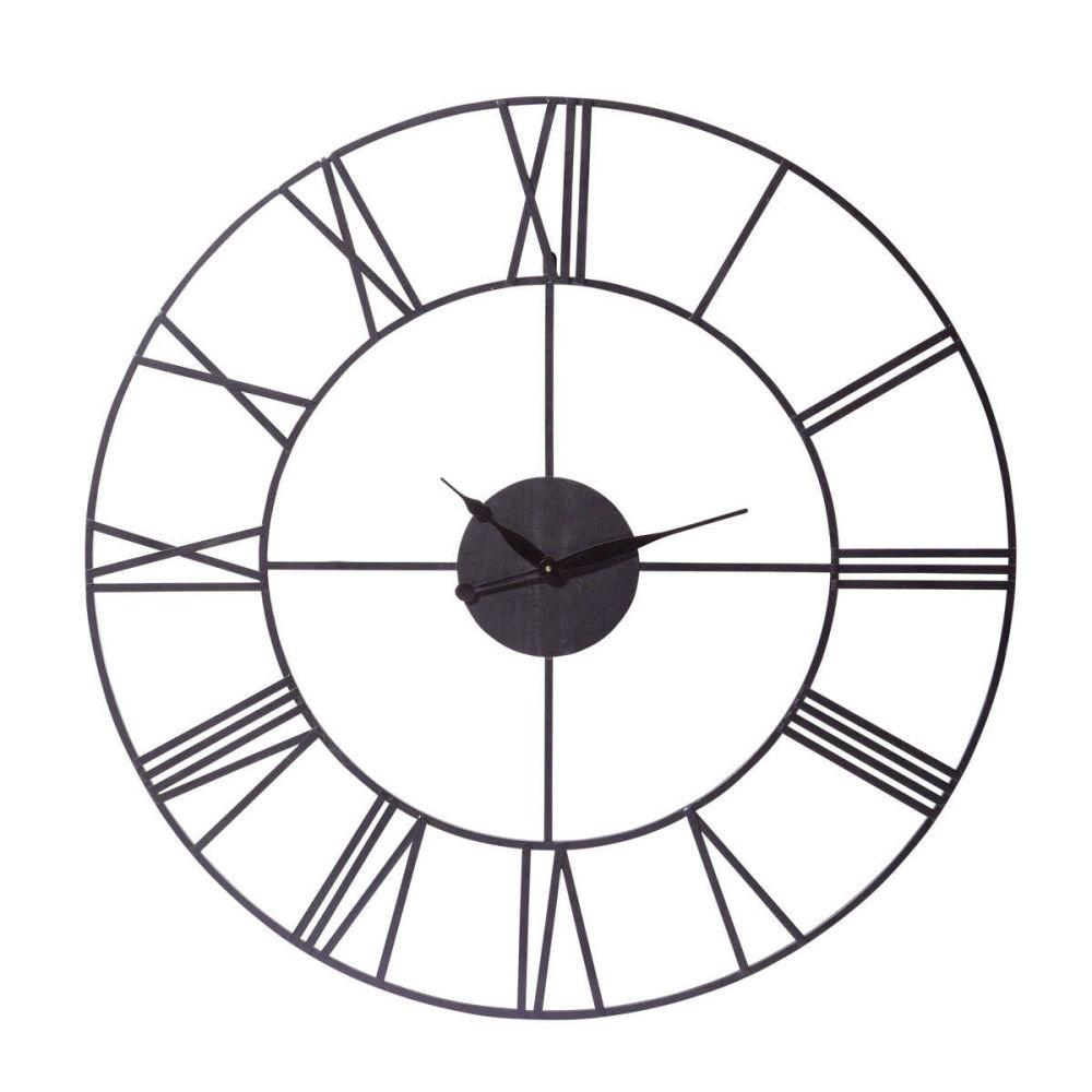 horloge indus en métal noire d 107 cm sirius