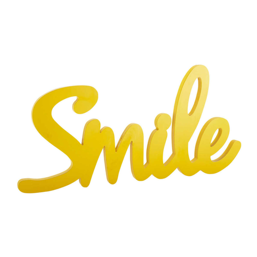 D co murale en bois jaune l 93 cm smile maisons du monde for Decoration jaune