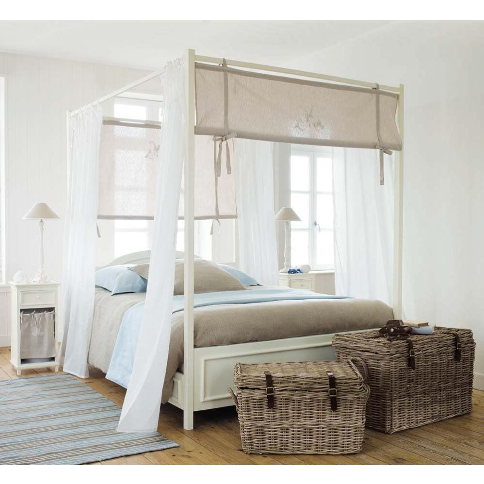 Lit baldaquin 160 x 200 cm en bois cru manosque maisons du monde - Lit a baldaquin blanc ...