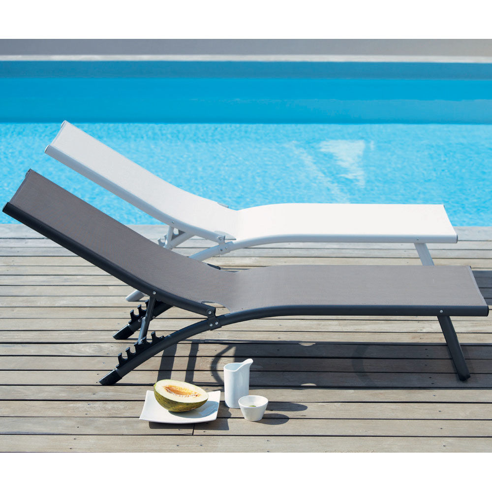 Bain de soleil en aluminium anthracite l 174 cm hurghada maisons du monde - Bain de soleil taupe ...