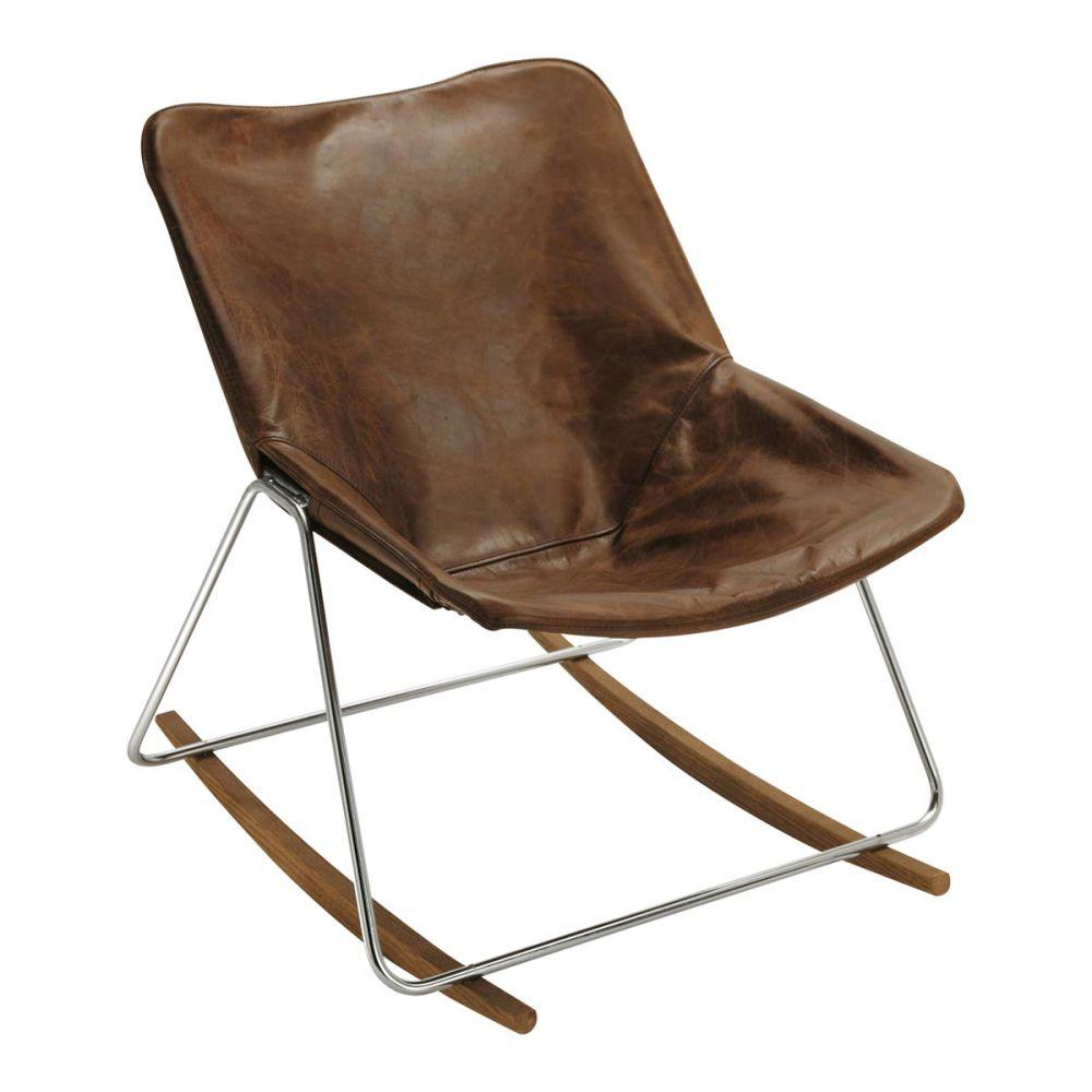 Fauteuil bascule en cuir marron g1 maisons du monde - Fauteuil cuir marron vintage ...
