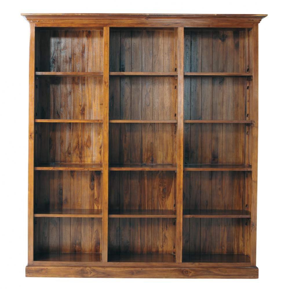 Biblioth que en teck massif teint l 213 cm key largo - Meuble bibliotheque ouverte ...