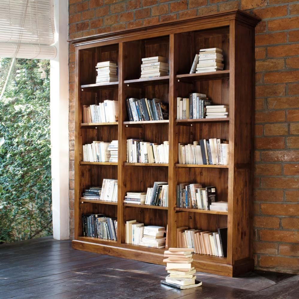 Biblioth que en teck massif teint l 213 cm key largo for Bibliotheque meuble