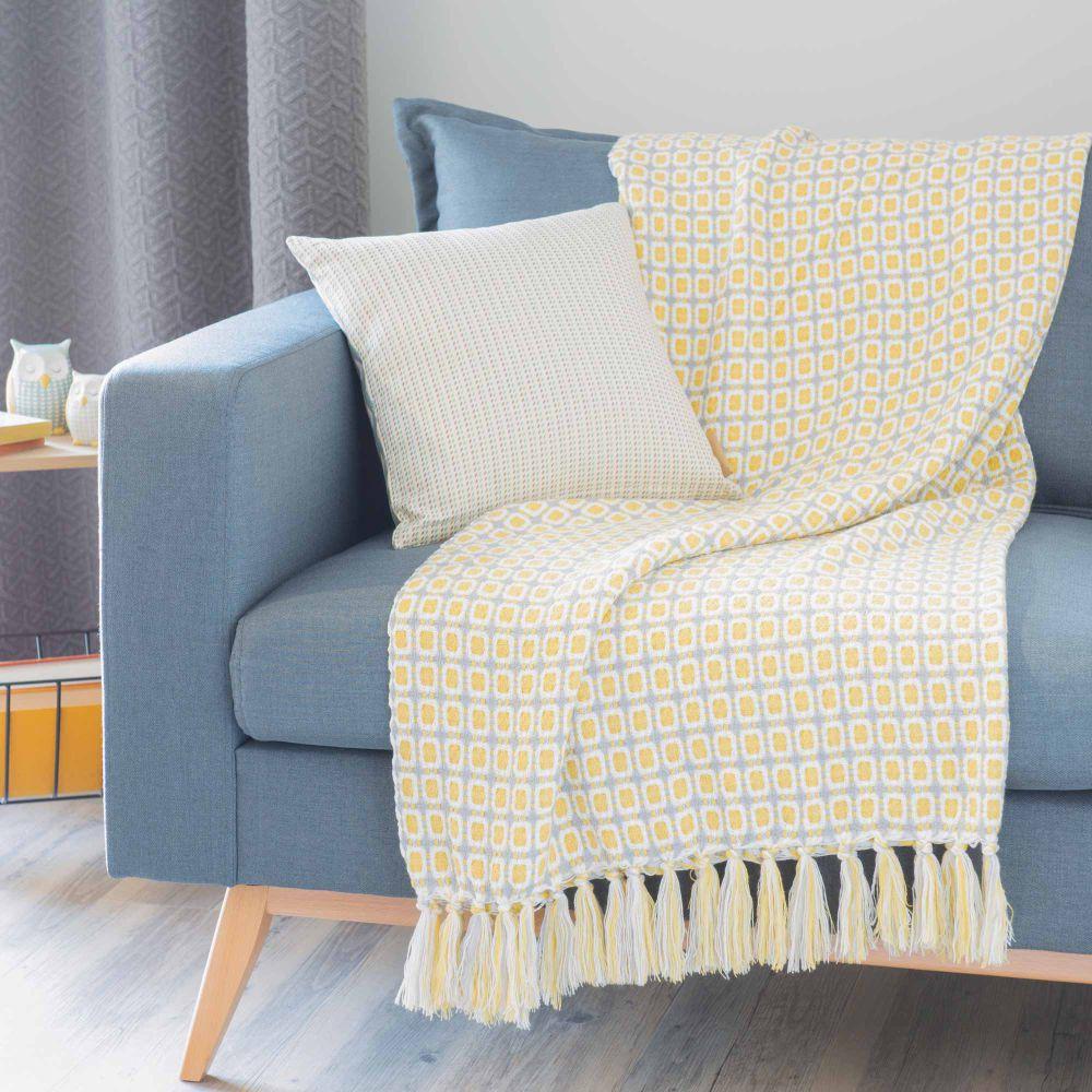 jete de lit maison du monde 15 jet de canap bleu blanc trieste. Black Bedroom Furniture Sets. Home Design Ideas