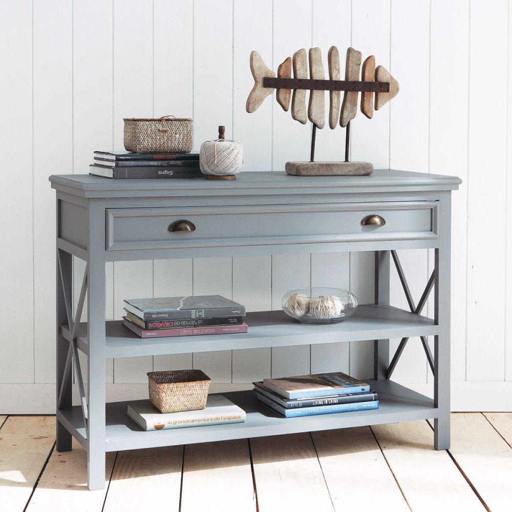 Table console en bois grise l 120 cm newport maisons du for Consoles maison du monde