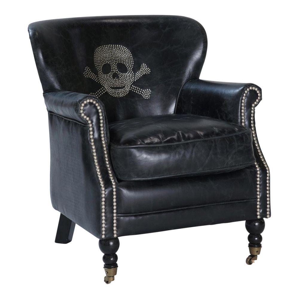 Fauteuil t te de mort cuir vintage noir zadig maisons du - Maison du monde fauteuil cuir ...
