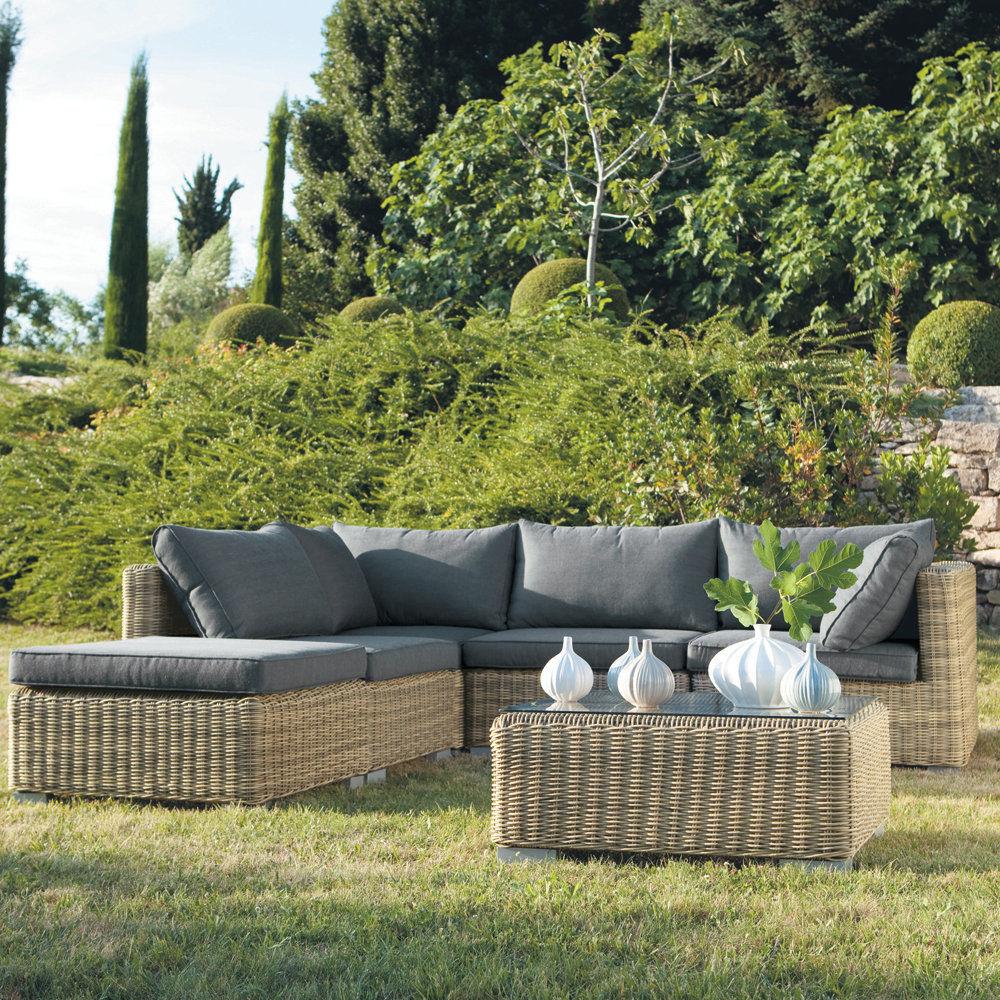 Angle de canap de jardin en r sine tress e saint rapha l maisons du monde - Canape angle exterieur ...
