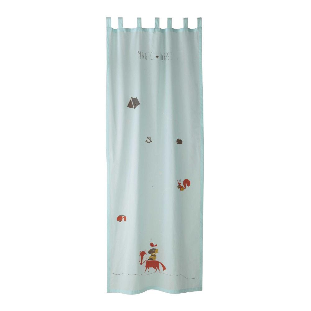 Rideau  passants en coton bleu 110 x 250 cm FOREST