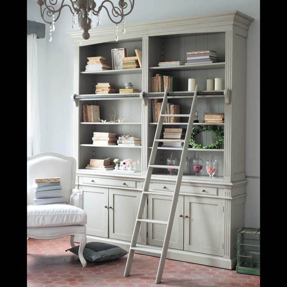 Biblioth que avec chelle en bois grise l 200 cm amandine maisons du monde - Meubles autour du monde ...
