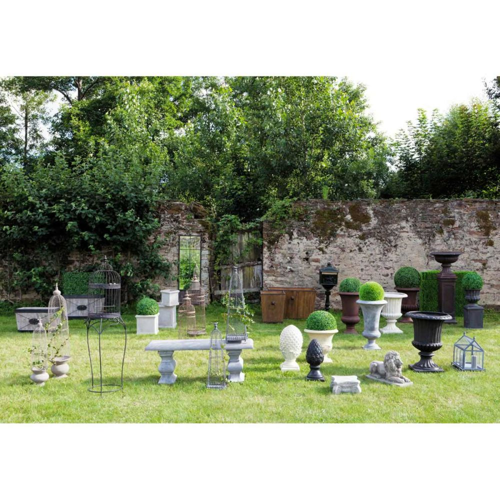 Banc de jardin en fibre de verre gris l 120 cm renaissance for Jardin renaissance