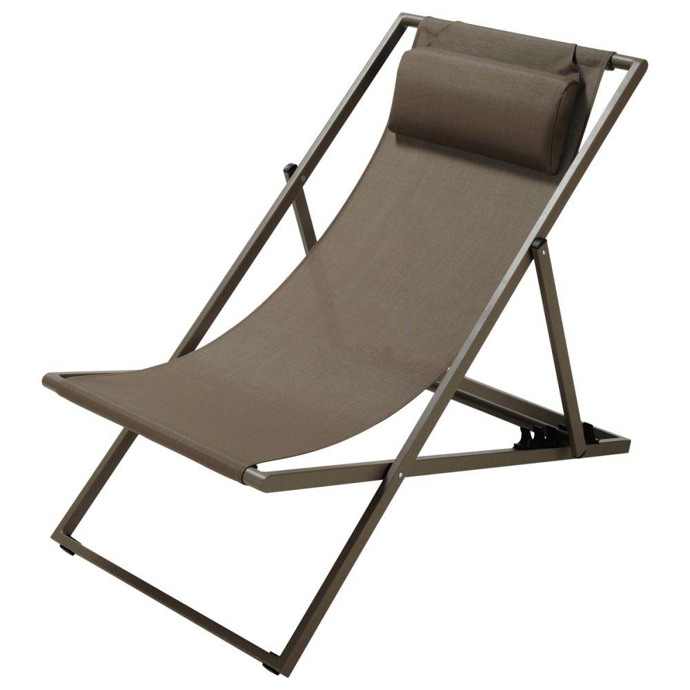 Chaise longue chilienne pliante en m tal taupe l 104 cm - Transat maison du monde ...