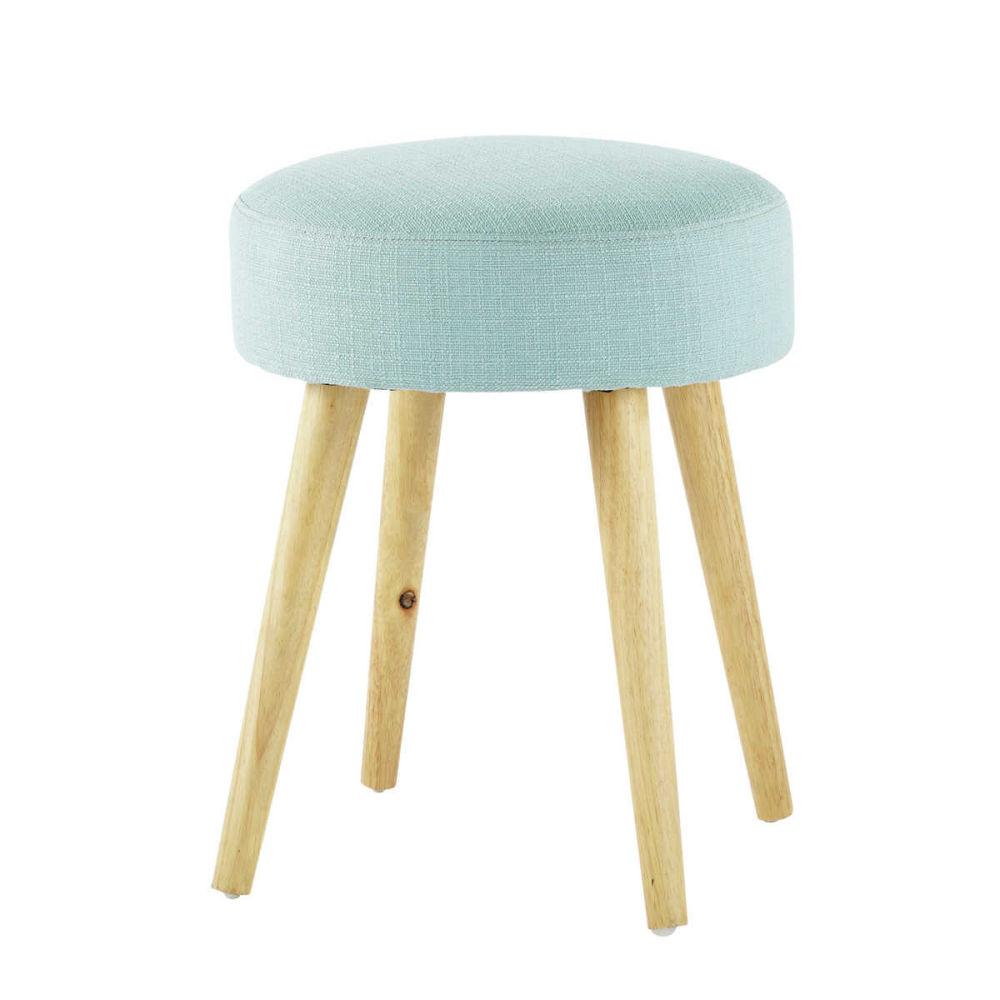 Tabouret en tissu et bois bleu pin 39 up maisons du monde - Tabouret pour coiffeuse chambre ...