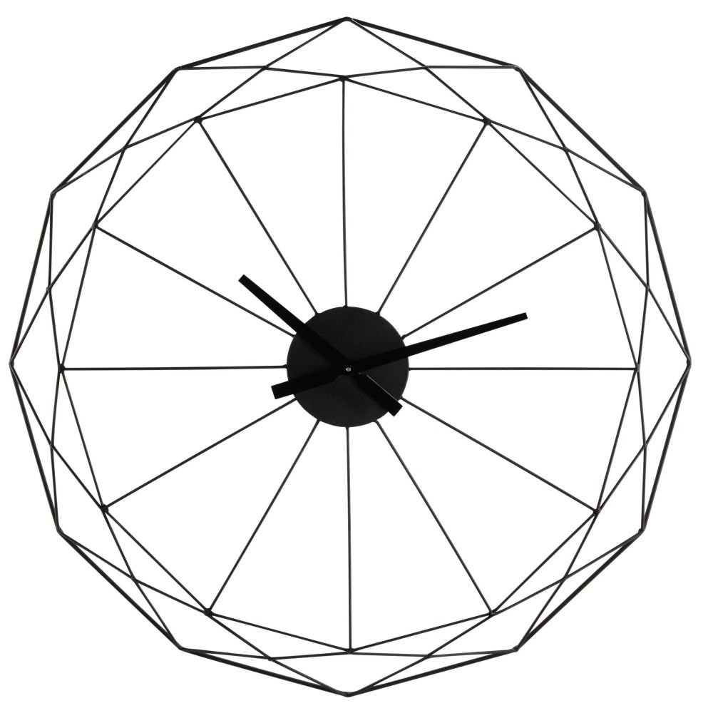horloge en métal noir d 80 cm origami